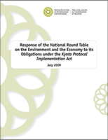 Report cover - 2009 Response of the NRTEE to its Obligations under the Kyoto Protocol Implementation Act - July 2009