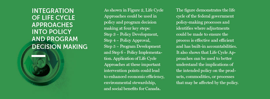 Integration of life cycle approaches into policy and program decision making