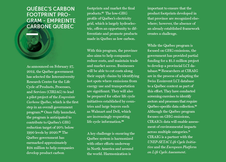 Quebec's Carbon Footprint Program