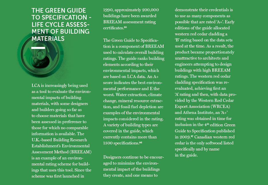 The Green Guide to Specification-Life Cycle Assessment of Building Materials